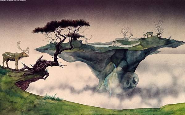 水彩タッチの塗りが綺麗な霧の中の島に住む鹿のイラスト