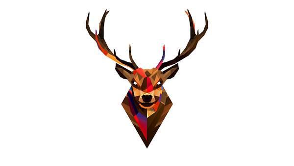 ポリゴン風のデザインがクールな鹿のハンティング・トロフィーのイラスト