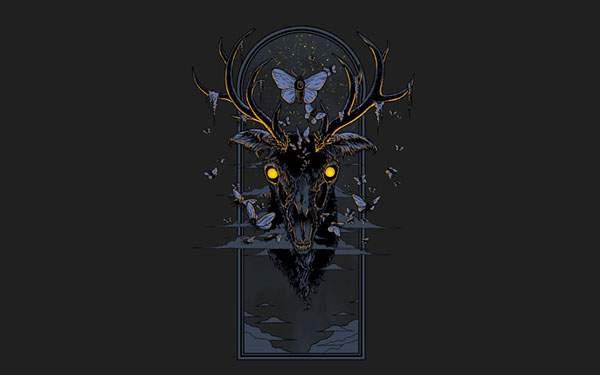 怪しい雰囲気がホラーな鹿の頭部と蝶達のイラスト壁紙画像