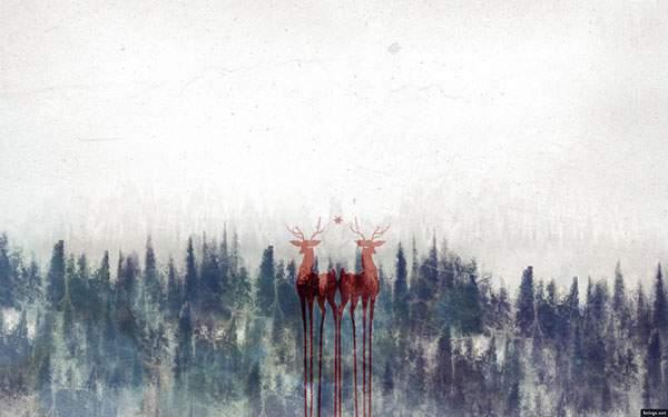 淡い色使いが綺麗な鹿のシルエットのイラスト壁紙