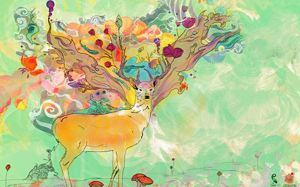 カラフルな色使いで鹿を描いた綺麗なイラスト壁紙画像