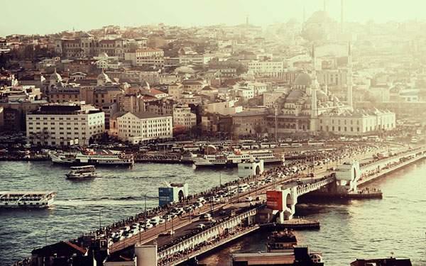 トルコのガラタ橋と街並みを撮影した綺麗な写真壁紙