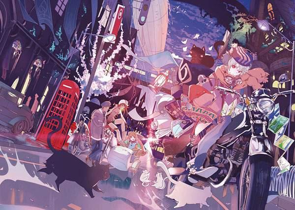 街をバイクで駆け抜ける女の子とネコのイラスト壁紙