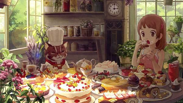 テーブルいっぱいに並んだスイーツを食べる女の子とネコのパティシエ