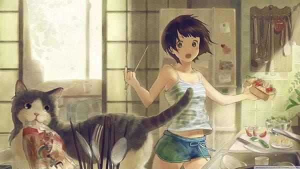 料理をする女の子とちくわをくわえて逃げるネコのイラスト