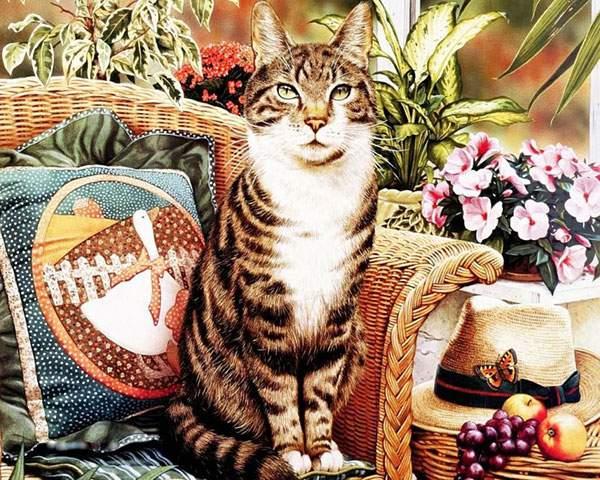 花とソファーに座った猫を描いたリアルタッチなイラスト