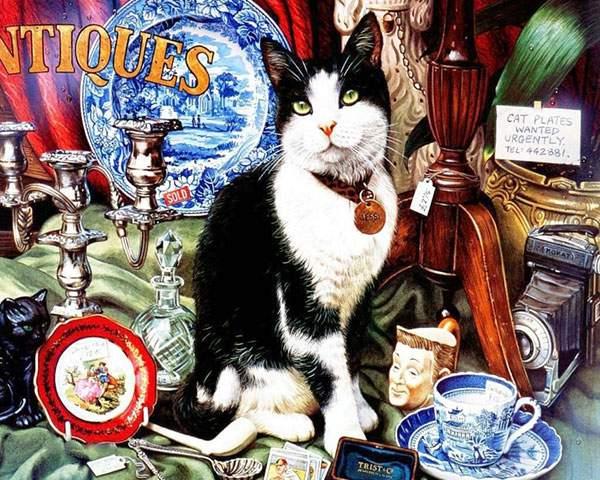 アンティーク風な小物と猫のおしゃれなイラスト壁紙画像