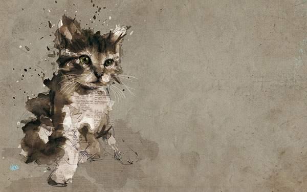 可愛い子猫をラフなタッチで描いたアートワーク