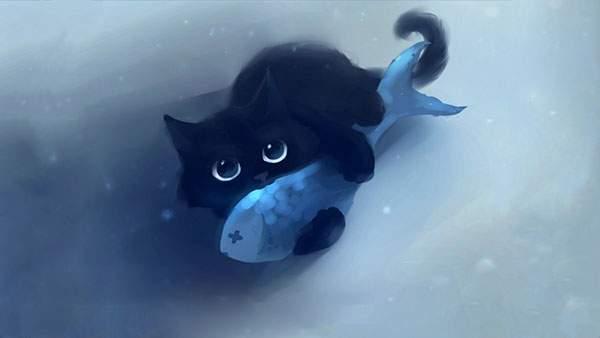 魚を抱きかかえたネコのキレイなイラスト壁紙