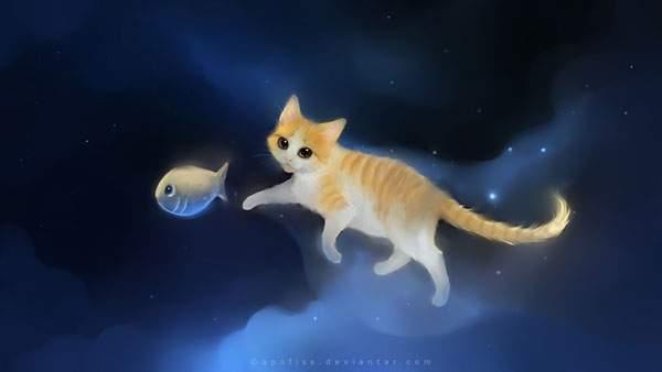魚を追いかける茶トラネコのキレイなイラスト