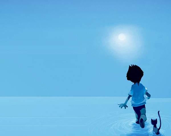 海の中に走っていく少年と追いかける子猫のイラスト