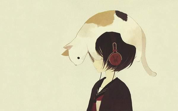 セーラー服の女の子とその頭にのっかったネコ