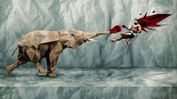 鼻につけたグローブでボウサーをノックアウトする象のイラスト