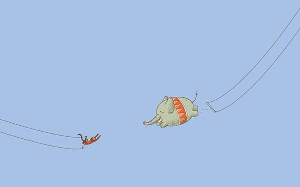 サルと空中ブランコをするゾウの無理過ぎるイラスト壁紙
