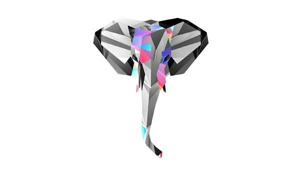 カットした宝石のようなデザインのおしゃれなゾウのイラスト壁紙