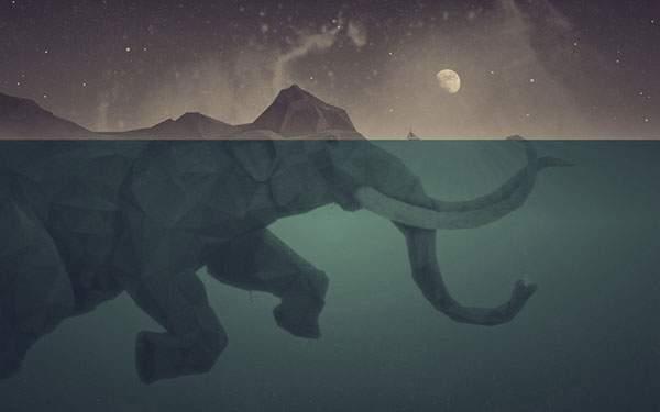 海を泳ぐ巨大な象の幻想的なイラスト壁紙画像