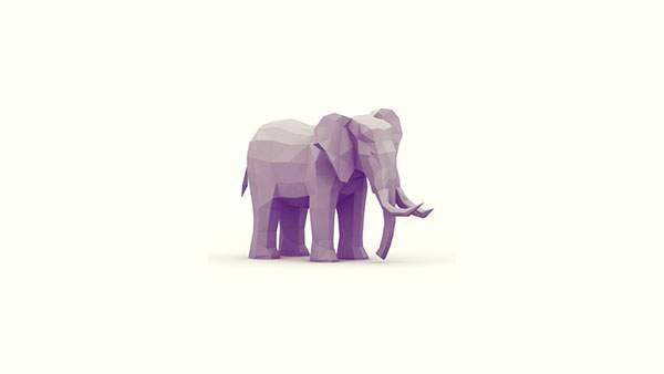 ポリゴン風の象のシンプルでおしゃれなイラスト壁紙画像