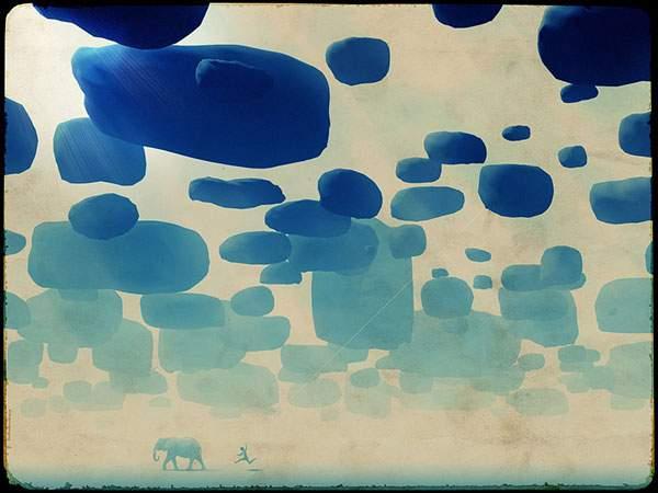 たくさんの雲と遠くを歩く象を描いた幻想的なイラスト壁紙