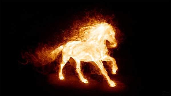 炎の馬を描いたかっこいいイラスト壁紙画像