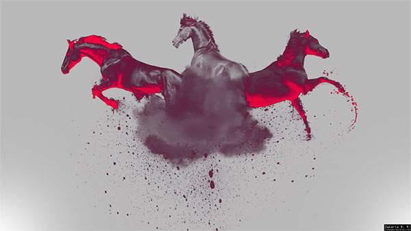 赤とグレーでデザインした3匹の馬のイラスト壁紙