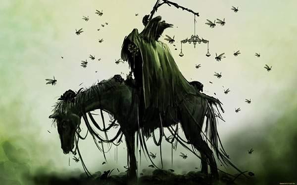 死神を乗せた馬のダークファンタジーなイラスト