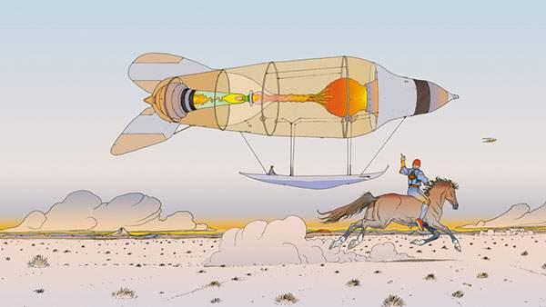 気球を馬で追いかける男性のおしゃれなイラスト壁紙画像