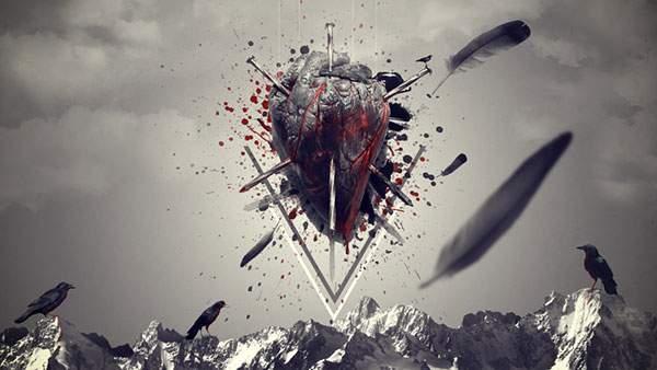 カラスと心臓をモチーフにしたダークな雰囲気のイラスト壁紙画像