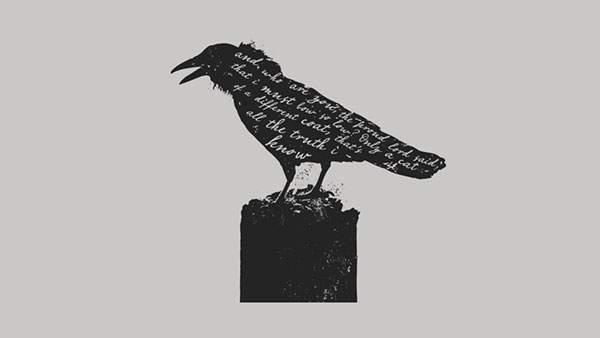 カラスのモノクロ・白黒写真の壁紙
