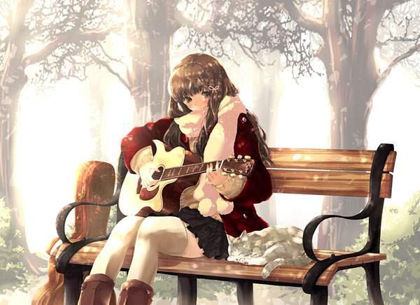 ベンチに座ってギターを弾くかわいい女の子のイラスト