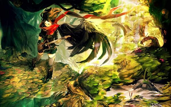 森の中でギターを弾く女の子のクールな感じのイラスト壁紙