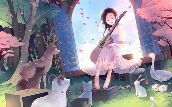 森の動物達にギターを弾く女の子のかわいいイラスト壁紙画像