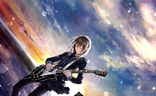 夕焼けの空をバックにギターを弾く黒いセーラー服の女の子の壁紙