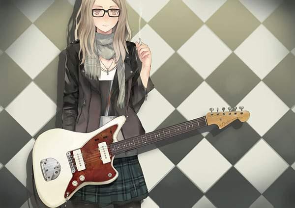 ギターを首から下げてタバコを弾くおしゃれな女の子のイラスト壁紙
