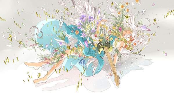 ギターを持った女の子と花が舞う幻想的で綺麗なイラスト壁紙