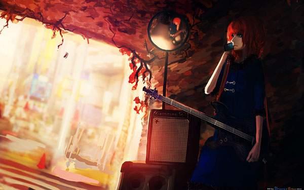 ギターを片手に電話をする女の子の綺麗なイラスト壁紙