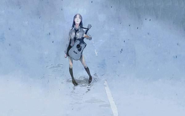 セーラー服でギターを弾く女子高生を水彩タッチで描いた綺麗なイラスト壁紙