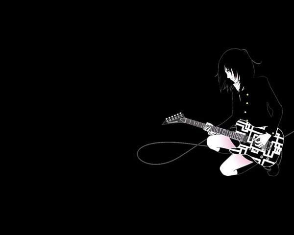 ギターを弾く女の子のシンプルな黒背景イラスト壁紙