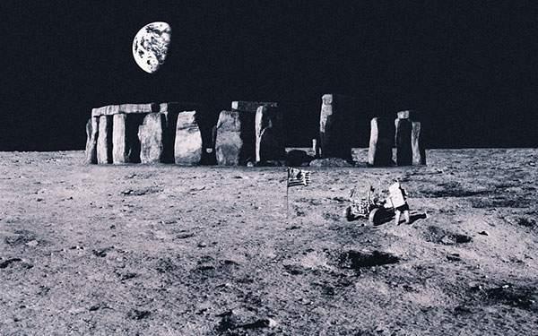 月面に並べられたストーンサークルの壁紙画像