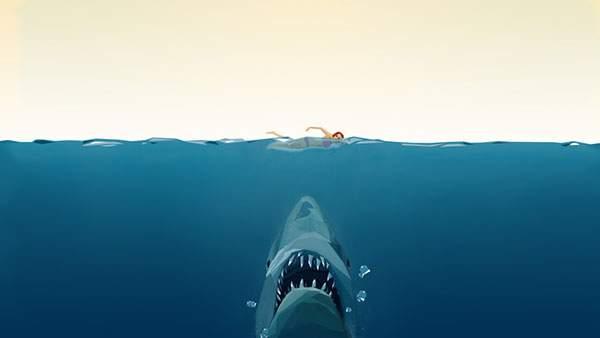 海を泳ぐ女性を下から狙うジョーズのシンプルなイラスト