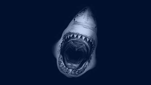 大きな口を開いた鮫の迫力いっぱいのイラスト壁紙画像