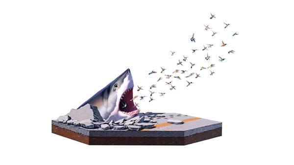 アスファルトから顔を出す鮫とその口から飛んでいく鳥たちのシュールなイラスト