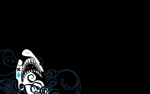 鮫をモチーフにしたシンプルでかわいいイラスト壁紙画像