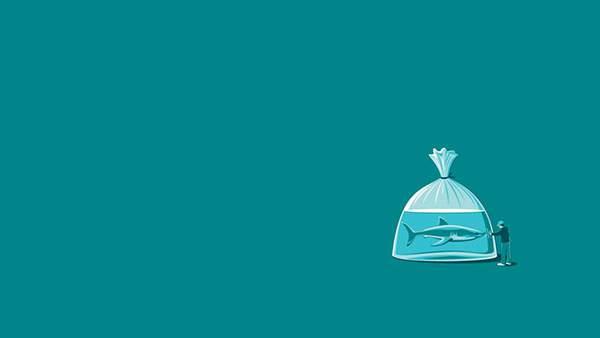 ビニール袋に入った鮫を描いたユニークなイラスト画像