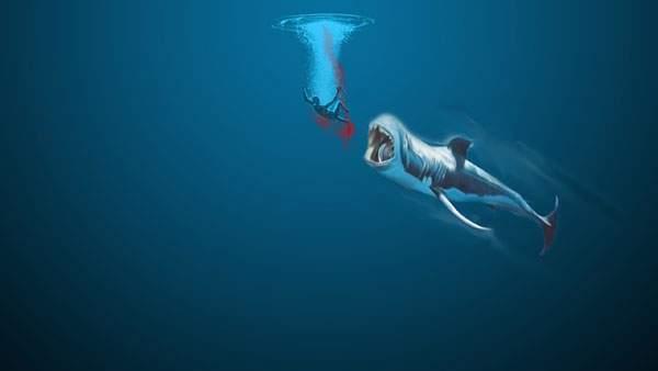 水中で血を流す男性とそれを狙うジョーズのホラーなイラスト