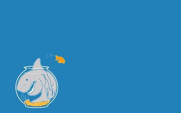 金魚鉢の中の鮫を描いたシンプルな壁紙画像