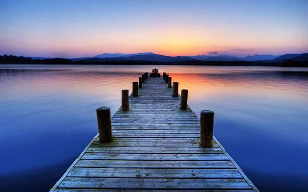 綺麗な夕日と橋の壁紙画像