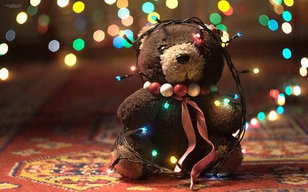 クリスマスの電飾をつけたテディベアの綺麗な写真壁紙