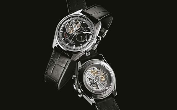 ゼニスの二本の革ベルトの時計を撮影した写真壁紙
