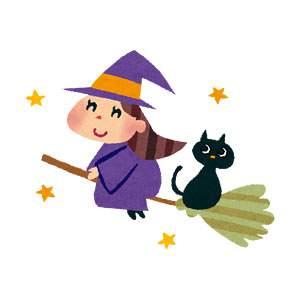 ハロウィンのイラスト「ホウキに乗った魔女と黒猫」