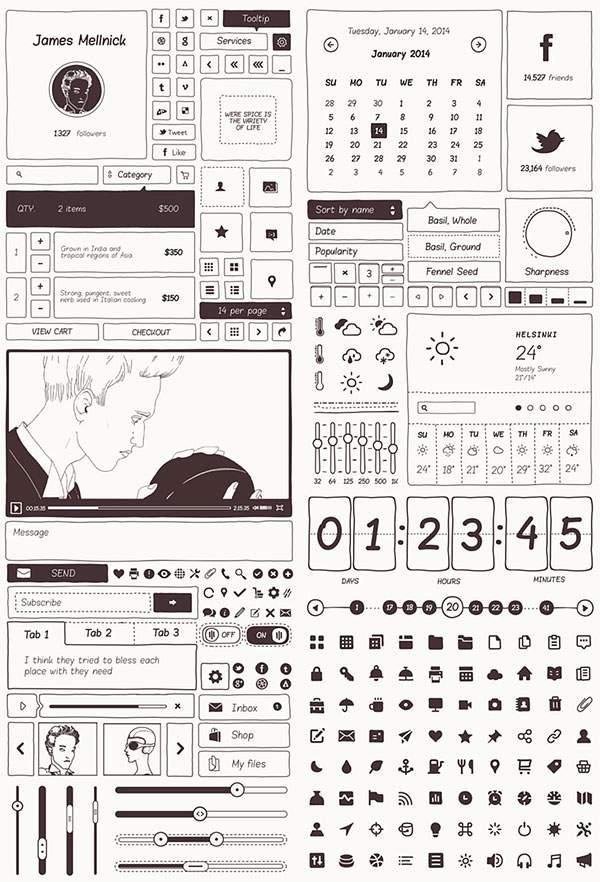 手書きタッチのUIモックアップテンプレートPSD